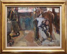 Carl Fahringer (1874 - 1952) Hufschmiede in Unterach am Attersee Öl auf Karton Signiert 35,5 x 46