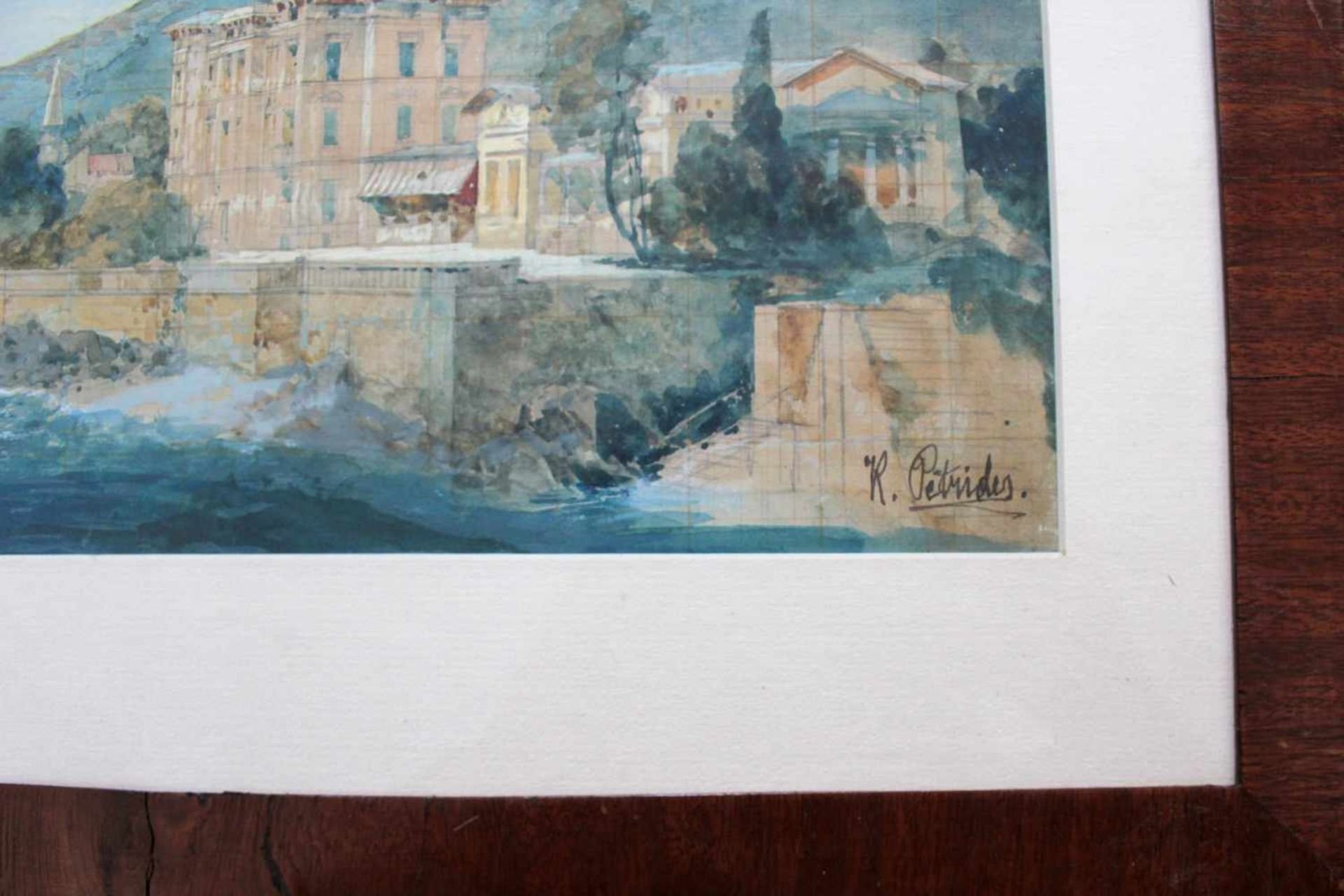 Konrad Petrides(1864 - 1943)Kroatische KüsteAquarell, Deckweiß gehöhtSigniert18 x 30 cm - Bild 2 aus 2