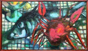 Jürgen Messensee (geb. 1936) Stillleben mit Krabbe und Fisch 1960 Öl auf Leinwand Signiert und