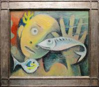 Carry Hauser (1895 - 1985) Ertrunkener 1961 Öl auf Platte Monogrammiert 33 x 41 cm