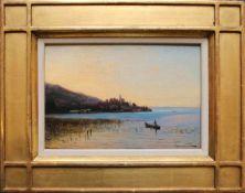 Vincenz Havlicek (1864 - 1914) Attersee Öl auf Holz Signiert und betitelt 12,5 x 18,5 cm