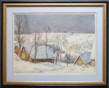 Josef Stoitzner (1884 - 1951) Winterliches Dorf Farblithographie Signiert 28,5 x 38 cm