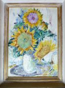 Anton Lutz (1894 - 1992) Sonnenblumen 1969 Öl auf Platte signiert und datiert 57 x 42 cm