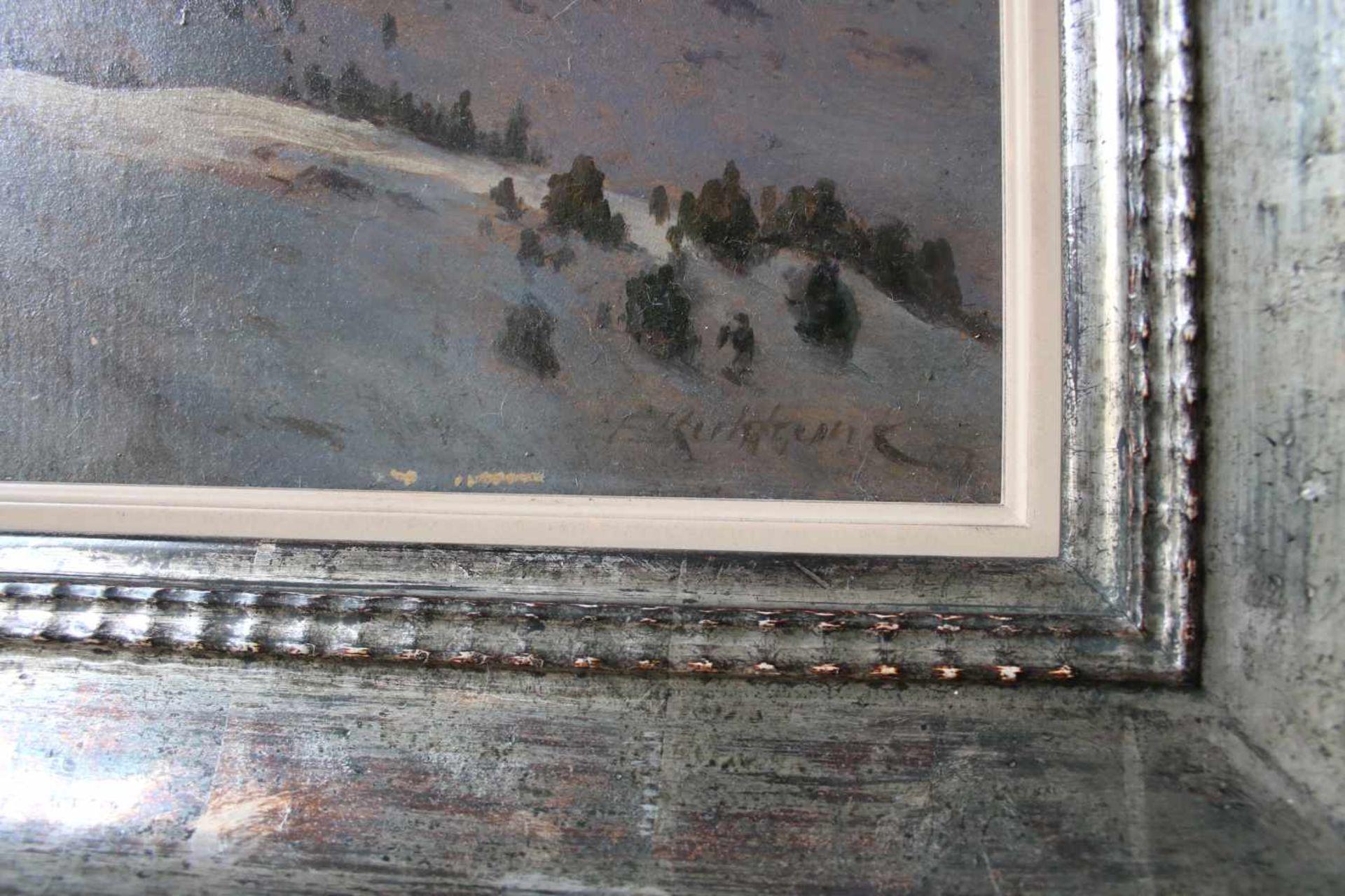 Franz Kulstrunk (1861 - 1944) Winterlandschaft 1922 Öl auf Karton Signiert, kleine Farbabsplitterung - Bild 2 aus 2