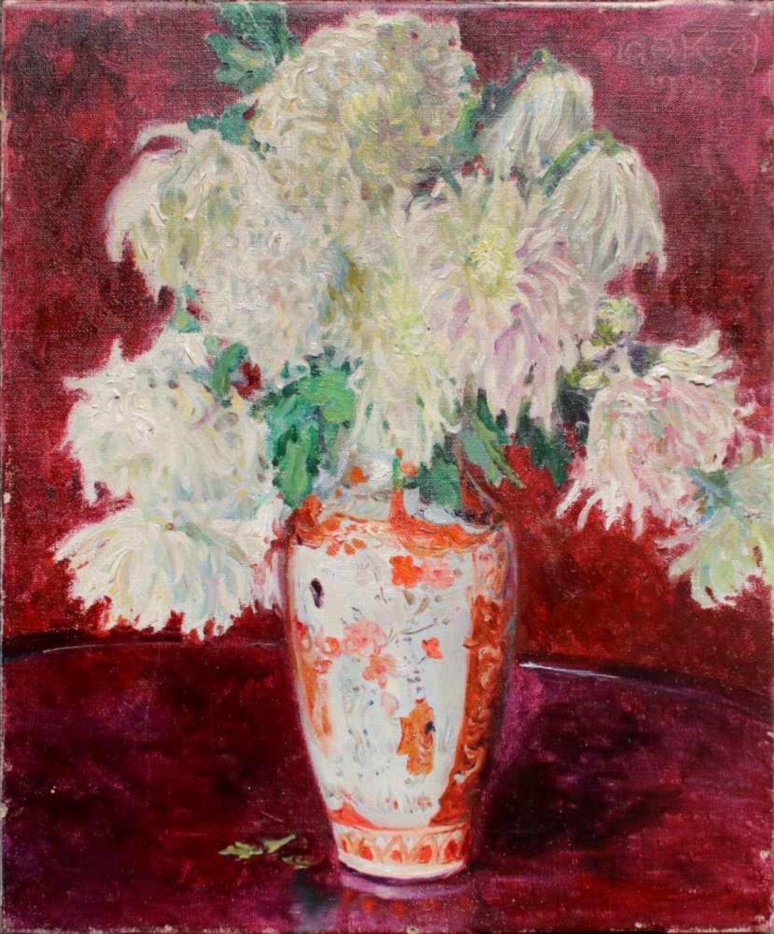Olga Koch (1878 - 1954) Blumen in Vase 1923 Öl auf Leinwand Signiert und datiert, Rückseitig mit