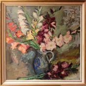 Georg Pevetz (1893 - 1971) Blumen Öl auf Platte Bezeichnet G. Pevetz 90 x 90 cm
