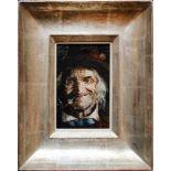 Thomas Riss (1871 - 1959) Alter Mann mit Pfeife Öl auf Karton Signiert 15 x 10 cm