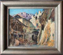 Hans Josef Weber-Tyrol (1874 - 1957) Bergdorf 1947 Aquarell auf Papier Signiert und datiert 33,5 x