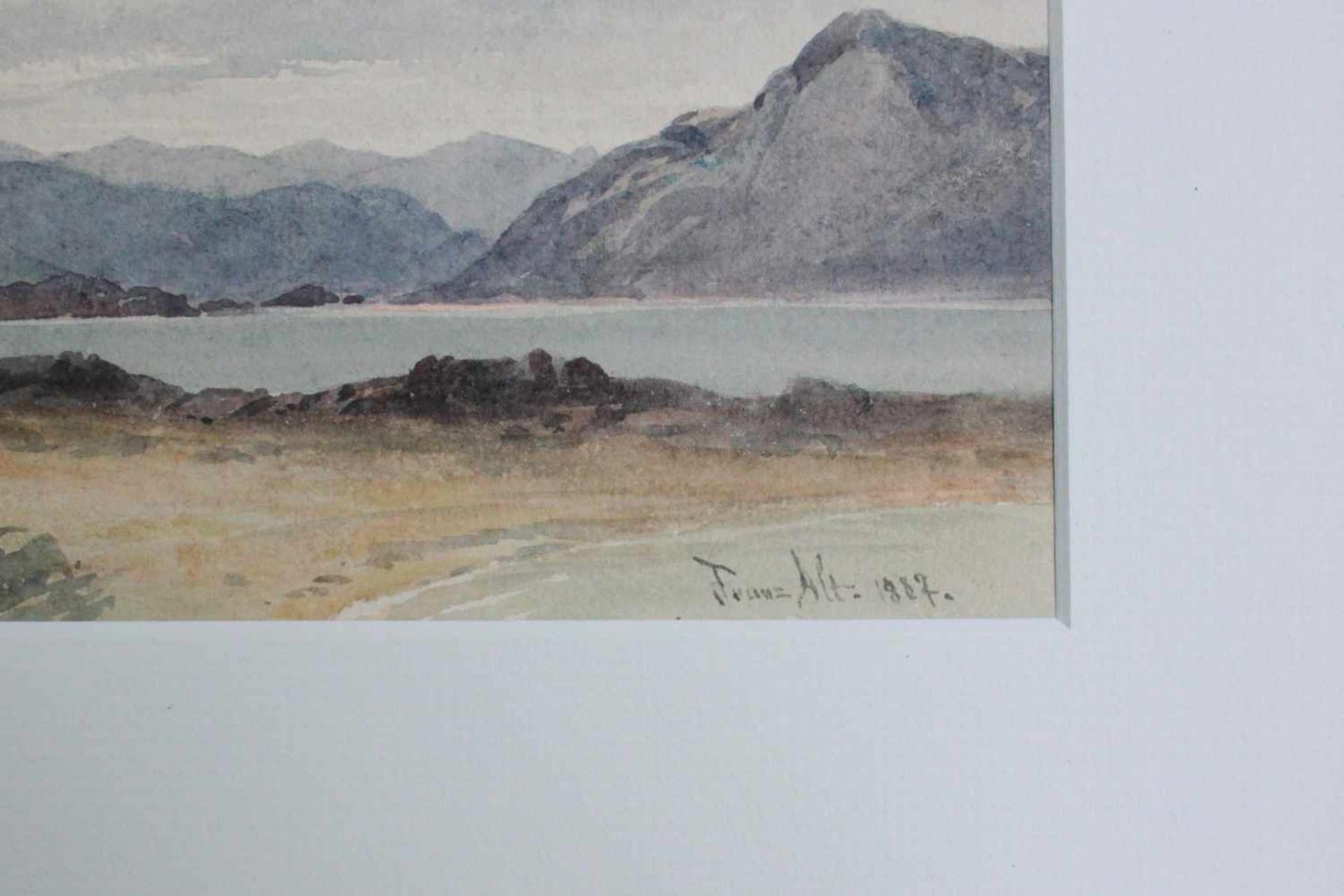 Franz Alt (1821 - 1914) Bergsee 1887 Aquarell auf Papier Signiert und datiert 11 x 31 cm - Bild 2 aus 2