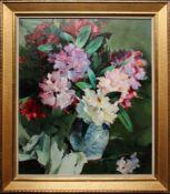 Anton Lutz (1894 - 1992) Rhododendron Öl auf Karton Signiert 64,5 x 54,5 cm