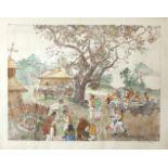 Oskar Laske (1874 - 1951) Nunta Taraneasca (Bauernhochzeit) Farblithographie, aquarelliert
