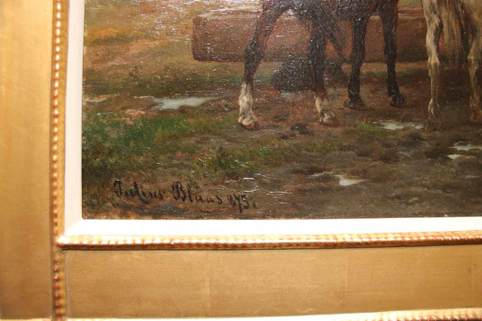 Julius von Blaas (1845 - 1922) Pferde an der Tränke 1875 Öl auf Holz Signiert und datiert 32 x 41 - Bild 2 aus 2