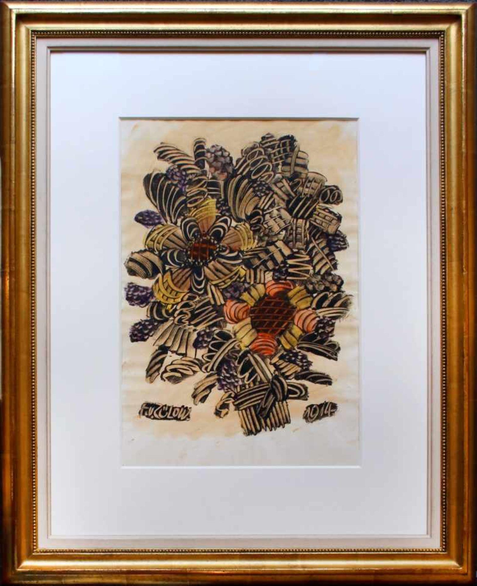 Franz von Zülow (1883 - 1963) Blumenstrauß 1914 Kleistertechnik auf Papier Signiert und datiert 42 x