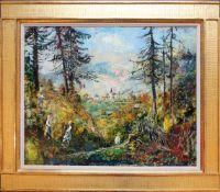 Ernst Huber (1895 - 1960) Erntedankfest bei Zinkenbach 1947 Öl auf Karton 45 x 55 cm