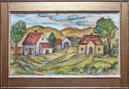 Franz von Zülow (1883 - 1963) Dorf 1942 Öl auf Holz Signiert und datiert 33 x 55 cm