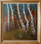 Oskar Mulley (1891 - 1949) Birkenwald Öl auf Karton Signiert 67,5 x 61,5 cm