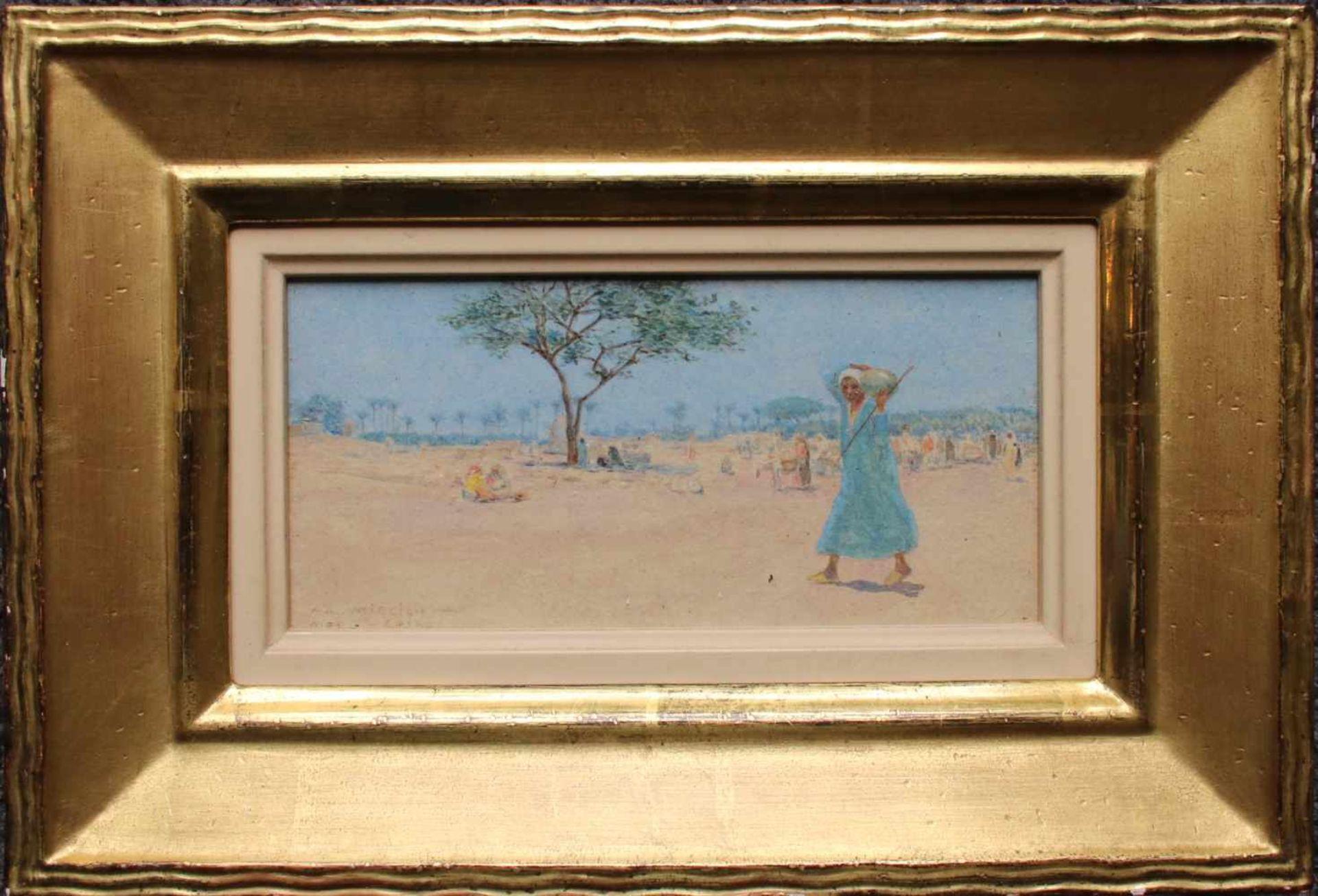 Alphons Leopold Mielich (1863 - 1929) Merg - Cairo Öl auf Karton Signiert und betitelt 7,5 x 16 cm