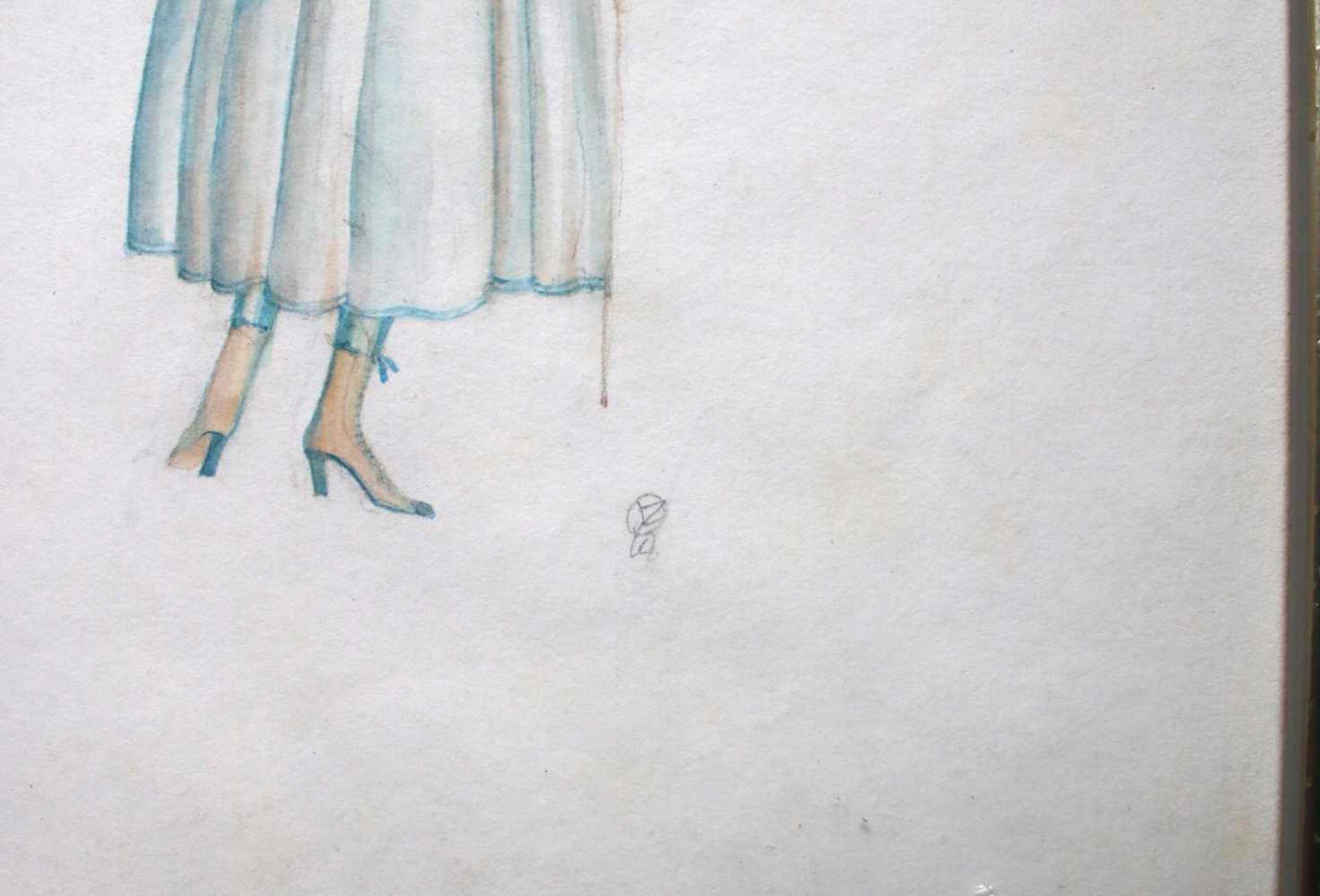 Julius Zimpel (1896 - 1925) Dame mit Gehstock und Hut Aquarell auf Papier Monogrammiert 34 x 22 cm - Bild 2 aus 2