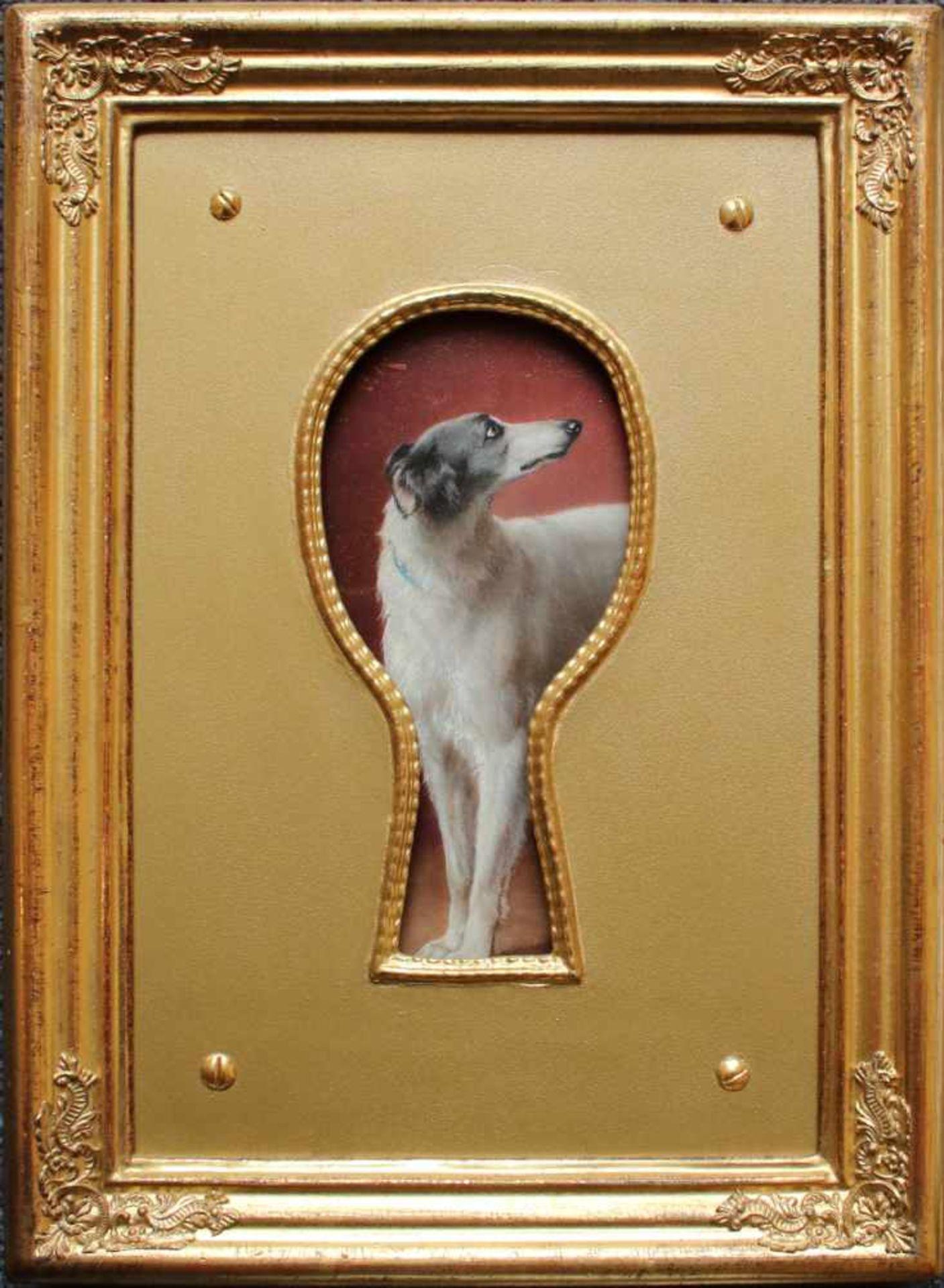 Carl Reichert (1836 - 1918) Hundeportrait durch das Schlüsselloch Öl auf Holz Signiert 17,5 x 8,5