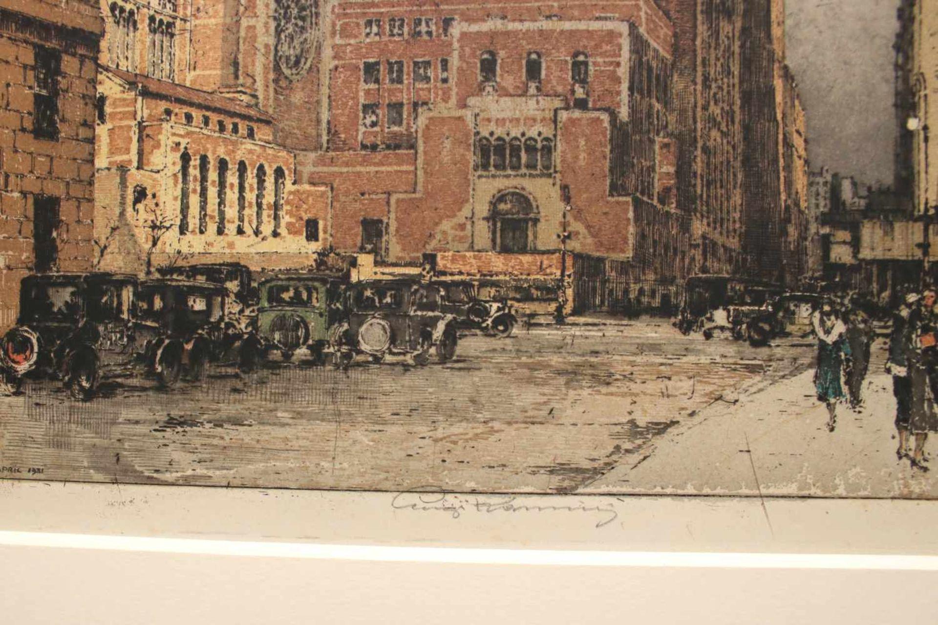 Luigi Kasimir (1881 - 1962) Central Station 1931 Farbradierung Signiert 54 x 42 cm - Bild 2 aus 2