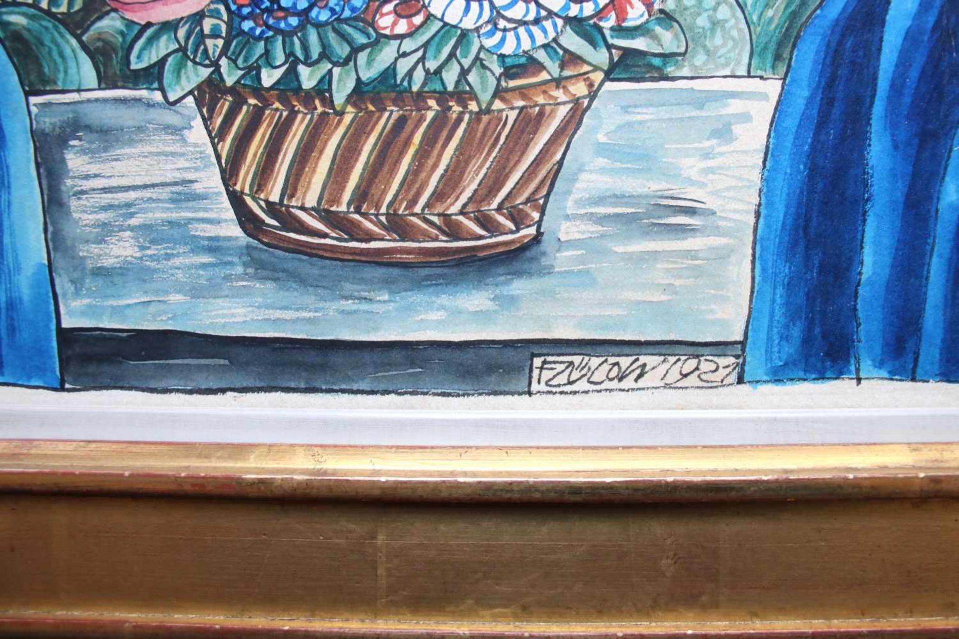 Franz von Zülow (1883 - 1963) Blumen auf dem Fensterbrett 1921 Mischtechnik auf Papier Signiert - Bild 2 aus 2