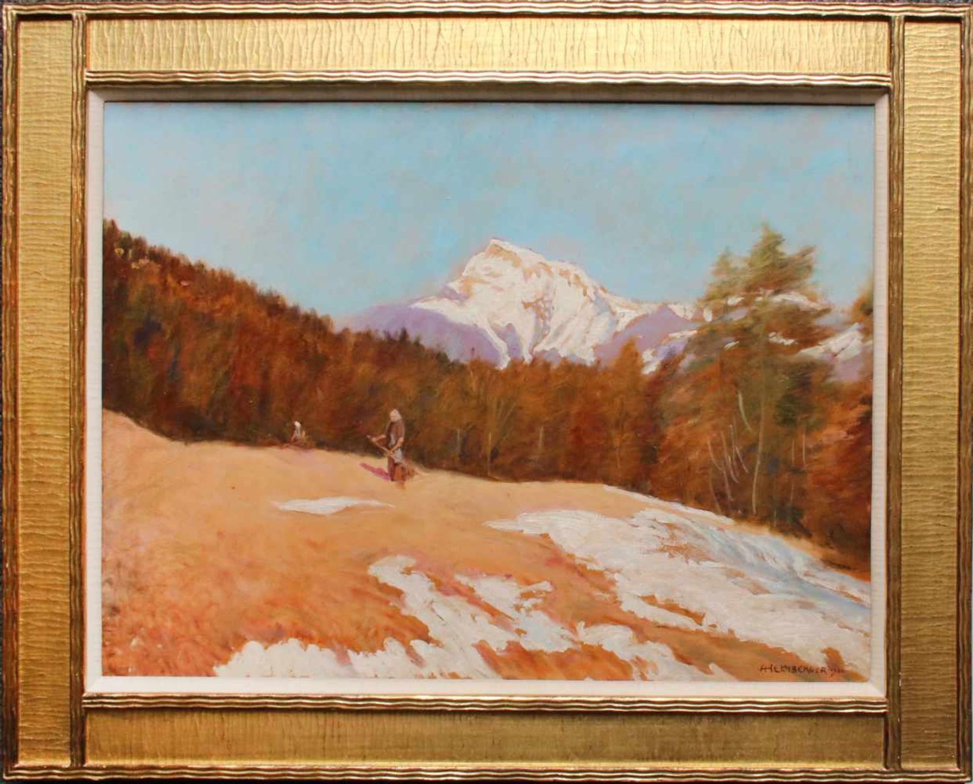 Adolf Helmberger (1885 - 1967) Schafberg 1922 Öl auf Platte Signiert und datiert 34 x 45 cm