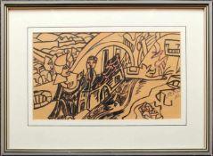 Franz von Zülow (1883 - 1963) Fantasie Stadt 1951 Tusche und Buntstift auf Papier Signiert und