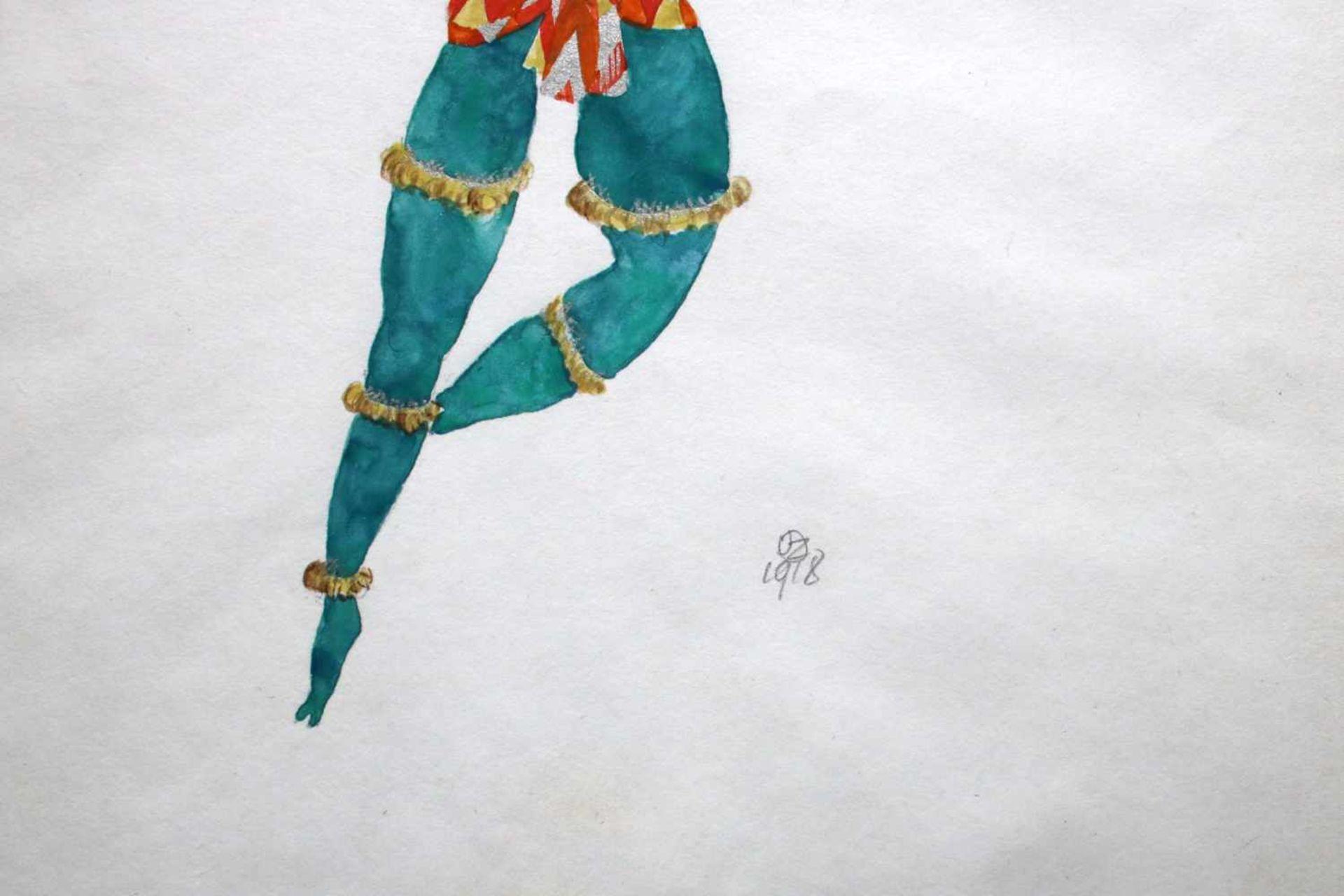 Julius Zimpel (1896 - 1925) Tänzer 1918 Aquarell auf Papier Monogrammiert und datiert 34 x 22 cm - Bild 2 aus 2