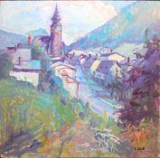 Gustav Schütt (1890 - 1968) Dorfkirche Öl auf Platte Signiert 60 x 60 cm