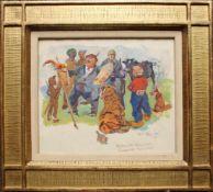 Carl Fahringer (1874 - 1952) Maler an der Staffelei Gouache auf Papier Signiert 17,5 x 20,5 cm