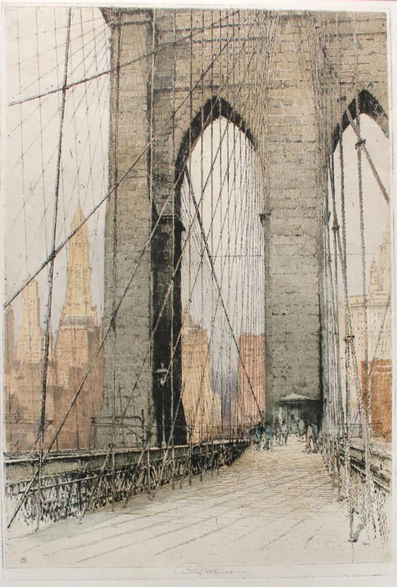 Luigi Kasimir (1881 - 1962) Amerika Farbradierung Signiert 56 x 41 cm