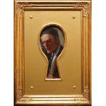 Joseph Kinzel (1852 - 1925) Portrait durch das Schlüsselloch Öl auf Holz Signiert 17,5 x 8,5 cm