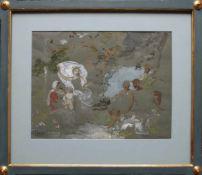 Eduard Veith (1856 - 1925) Musiker im Garten Mischtechnik auf Papier Signiert 24 x 30 cm