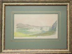 Thomas Ender(1793 - 1875)Ebene Landschaft mit Bergzug im HintergrundAquarell und Graphit auf