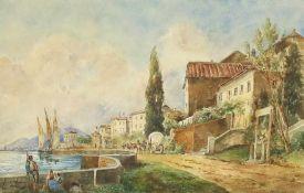 """Gustav Barbarini(1840 - 1909)""""Italienische Küstenstadt""""Aquarell auf PapierSigniert, gerahmt22 x 35"""