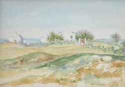 """Tina Blau(1845 - 1916)""""Landschaft vor dem Meer""""Aquarell auf PapierGerahmt17 x 25 cm- - -22.00 %"""
