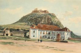 """Thomas Ender(1793 - 1875)""""Altes und neues Schloss Deva""""Aquarell auf PapierBetitelt, gerahmt31 x 47"""