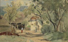 """Eduard Zetsche(1844 - 1927)""""Bauernhof""""Aquarell auf PapierSigniert, gerahmt10 x 18 cm- - -22.00 %"""