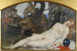 """Alexander Rothaug(1870 - 1946)""""Ariadne auf Naxos""""Öl auf PlatteSigniert, gerahmt23 x 33 cm- - -22."""