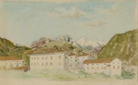 "Thomas Ender(1793 - 1875)""Gebirgslandschaft in Tirol""Aquarell auf PapierSigniert, gerahmt10 x 17 cm-"