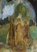 """Erich Wulz(1906 - 1984)""""Heilige drei Könige""""HinterglasmalereiSigniert, gerahmt27 x 20 cm- - -22.00 %"""