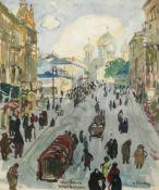"""Oskar Laske(1874 - 1951)""""Wierzhowa Warschau""""Mischtechnik auf PapierSigniert und betitelt,"""