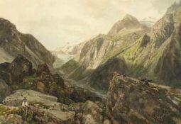 """Thomas Ender(1793 - 1875)""""Ziegenhirte in den Bergen""""Aquarell auf PapierSigniert, gerahmt26 x 37"""