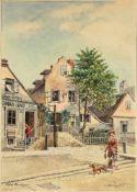 """Karl Schnorrpfeil(1875 - 1937)""""Alte Kaunitzgasse""""Aquarell auf PapierSigniert und betitelt26 x 18 cm-"""