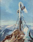 """Paul Kaspar(1891 - 1953)""""Gipfelkreuz auf dem Großglockner""""Öl auf PlatteSigniert, gerahmt16 x 13"""