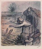 """Alfred Kubin(1877 - 1959)""""Am Fischteich""""1934Mischtechnik auf PapierSigniert und betitelt,"""
