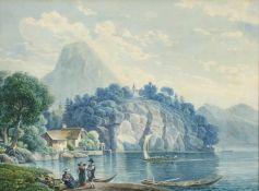 "Johann Nepomuk Schödlberger(1779 - 1853)""Traunkirchen""Aquarell auf PapierSigniert, gerahmt23 x 30"