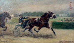 """Carl Franz Bauer(1879 - 1954)""""Österreichische Traber Derby""""1952Öl auf LeinwandSigniert, datiert"""