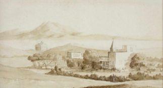 "Tina Blau(1845 - 1916)""Motiv aus dem Orient""Sepia auf PapierGerahmt10 x 18 cm- - -22.00 % buyer's"