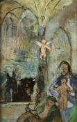 """Erich Wulz(1906 - 1984)""""Maria mit Jesuskind""""HinterglasmalereiSigniert, gerahmt30 x 20 cm- - -22.00 %"""